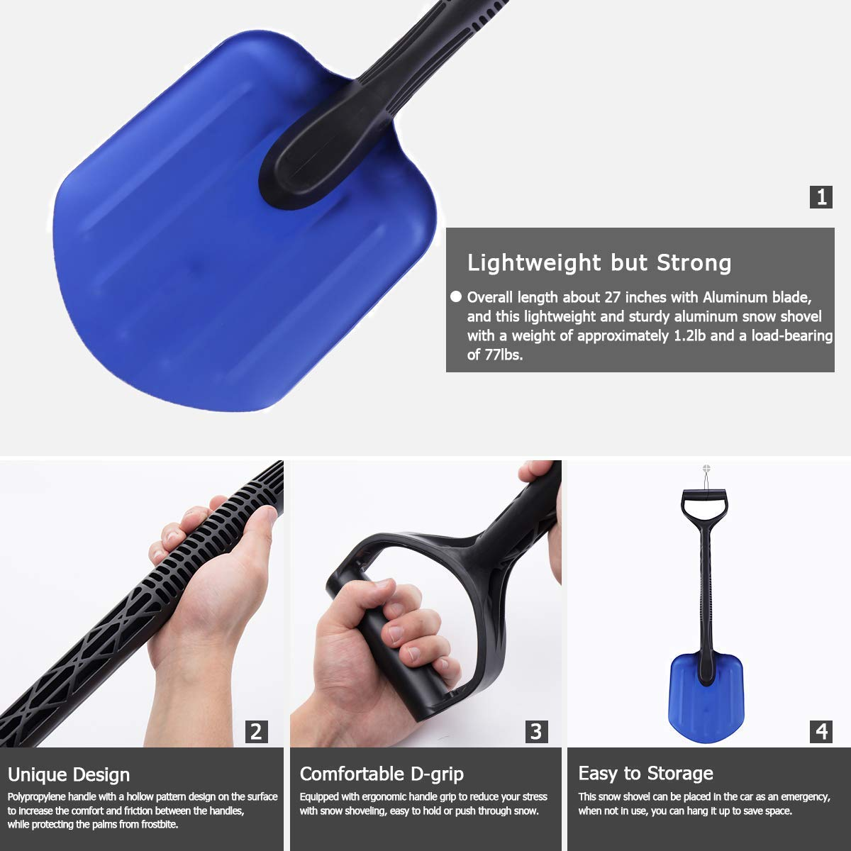 Outdoor Activities /& More. Camping 8 Blade Leightweight Utility Tine Shovel for Car Orientools Compact Aluminum Snow Shovel with Reinforced D Grip