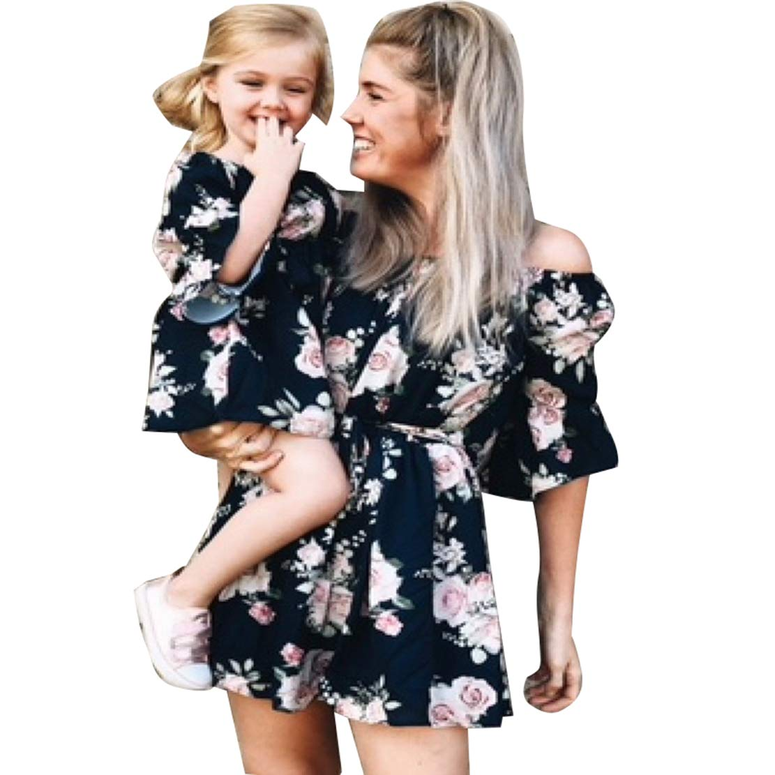 Family Matching Flower Print Off Shoulder Dress Mommy and Me High Waist 3/4 Sleeve Short Dress with Belt (Black, Daughter/3-4Years)