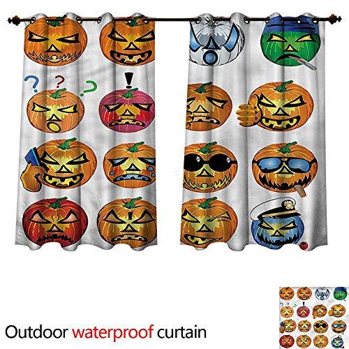 cobeDecor Halloween 0utdoor Curtains for Patio Waterproof Pumpkin Emoji W108 x L72(274cm x -