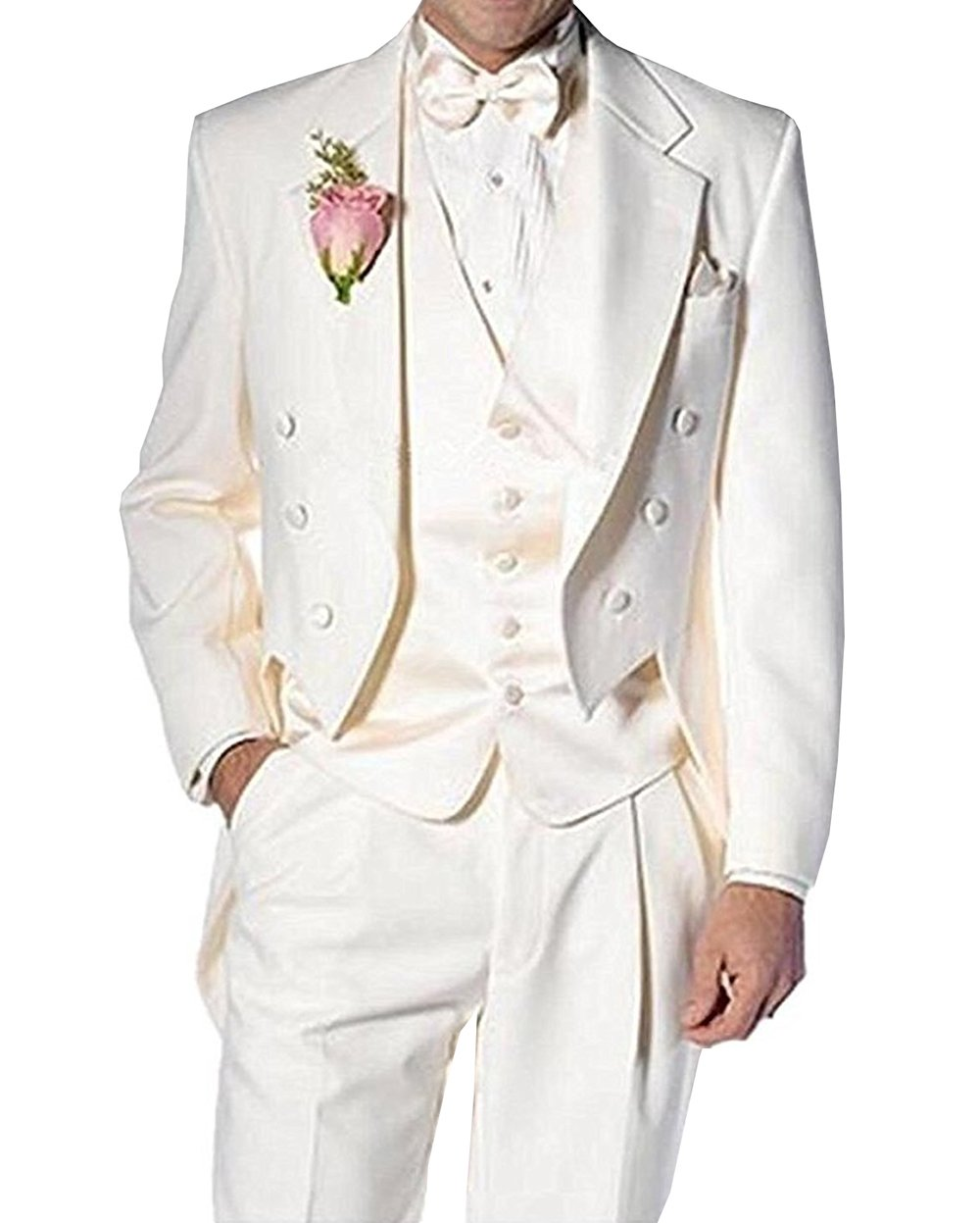 Fitty Lell Men's Suit 3 Piece Formal Tuxedo Groom Jacket Tux Vest & Trousers Set Wedding Suits(42 Regular,Ivory)