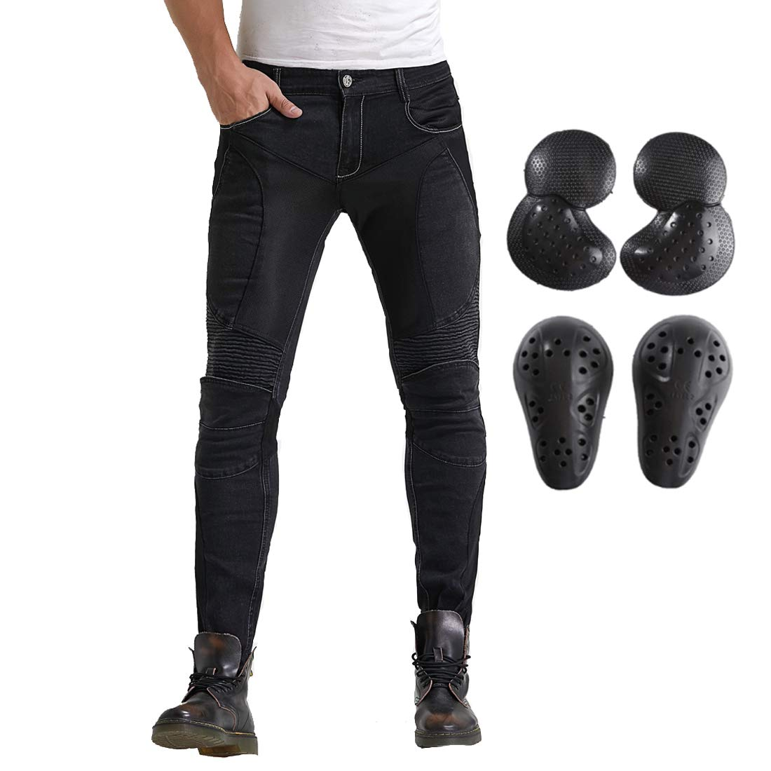 L=32, Black Summer Mesh Motorcycle Riding Jeans With Armor Motocross Racing Slim Stretch Pants