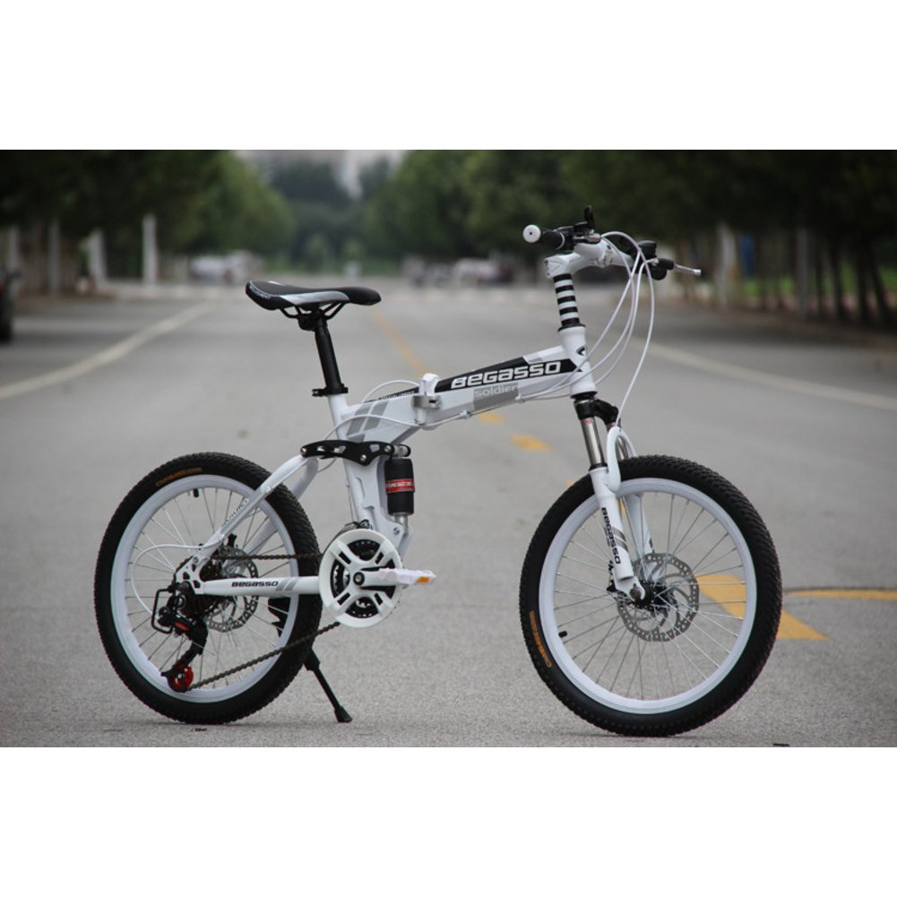 学生折りたたみ自転車, 子供用折りたたみ自転車 男女 21 速度 型ディスク ブレーキ 大人 折りたたみ自転車 Mtb 折り畳み自転車 B07DGFR1WS 20inch|白 白 20inch