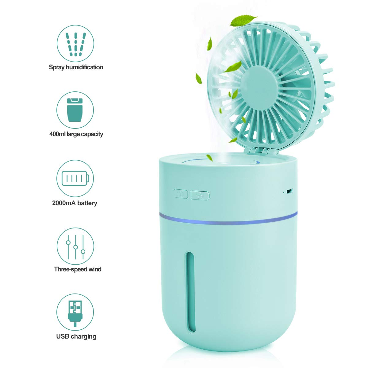 EVILTO Mini Humidifiers for Office Bedroom – Portable 2 in 1 USB Spray Humidifiers with Fan, 400ML Water Tank Lasts Up to 10 Hours, 2 Mist Modes with 7 Colors LED Lights for Kids, Home, Travel, Car.