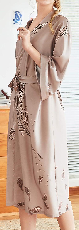 Chaos World Donna Kimono Vestaglia di Seta Pigiama Lungo Camicie da Notte Accappatoio Damigella dOnore