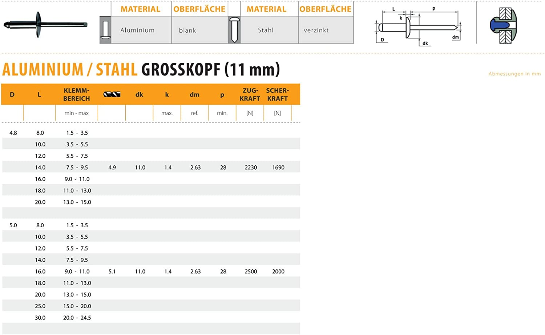Blindnieten Dichtnieten Nieten Stahl Grosskopf 4,8 X 8,0 mm 1000 St/ück Alu 11mm
