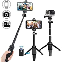 CREUSA® Bluetooth Selfie Stick Tripod, Extendable Foldable Aluminum Selfie Stick with Detachable Wireless Remote for iPhone, Android, Digital Cameras and GoPro