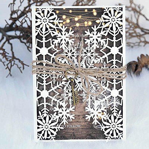 10 Set/Pack Ivory Design Snowflake Pattern Laser Cut Wedding Invitations Ribbons RSVP Brithday Pirnt Invite Postcard Bow Seal