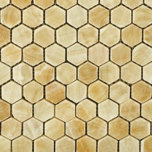 "free shipping Honey Onyx Polished 1"" Mini Hexagon Mosaic Tile (Box of 5 sq. ft.)"