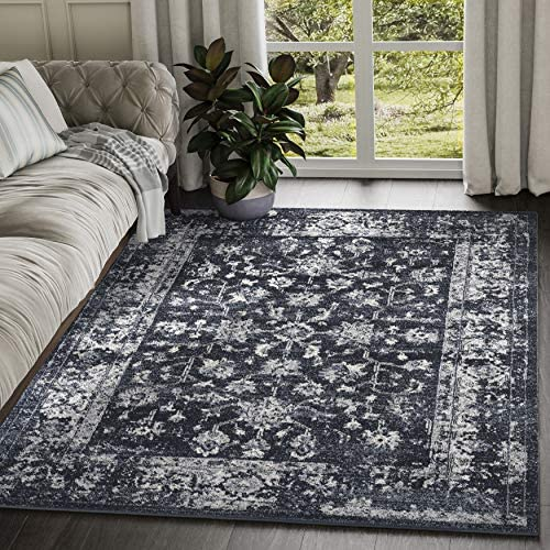 Abani Rugs Navy Ivory Distressed Antique Motif Area Rug Contemporary Classic Vintage Style Accent