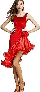 Dos Nu Femmes Robe de Danse Latine Velours sans Manches Robes de Compétition Ancien Robe de Danse de Salon Wangmei