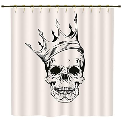 Shower CurtainSkullMod Illustration Of A Dead Skull King With His Crown In