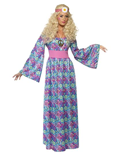 Ladies 1960s 1970s Hippie Hippy Long Length Maxi Flower Child Hen Do ...
