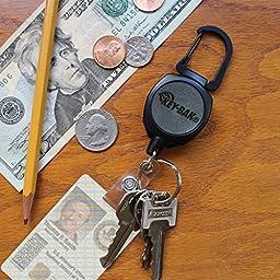 KEY-BAK Sidekick ID Badge and Key Reel, 24 inch Kevlar Cord, Tough Polycarbonate Case, Zinc Alloy Metal Carabiner
