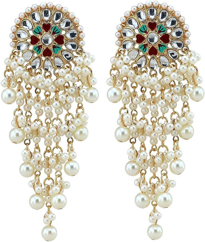 Pendientes Vintage Goteo Glaze Set Diamante Perlas Larga Borla Aleación Chapado en Oro Colgante Largo Elegante Moda Pendientes Mujer Joyería Regalos
