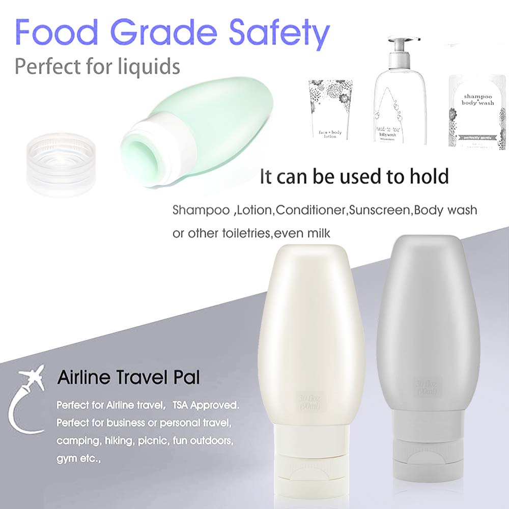 Travel Bottles TSA Approved, Uerstar 3oz Leak Proof BPA Free Silicone Cosmetic Travel Size Toiletry Containers for Shampoo Lotion Soap (6 Pack) by Uerstar (Image #3)