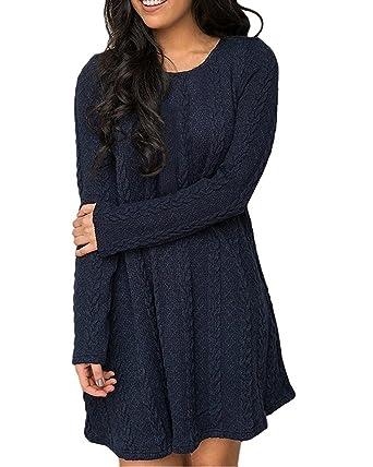 huge discount b9bb4 da3b5 Oderola Damen A-Line Kleid Stricken Chiffon Lace Langarm Jumper Mini Kleid  Pullover Strickkleider
