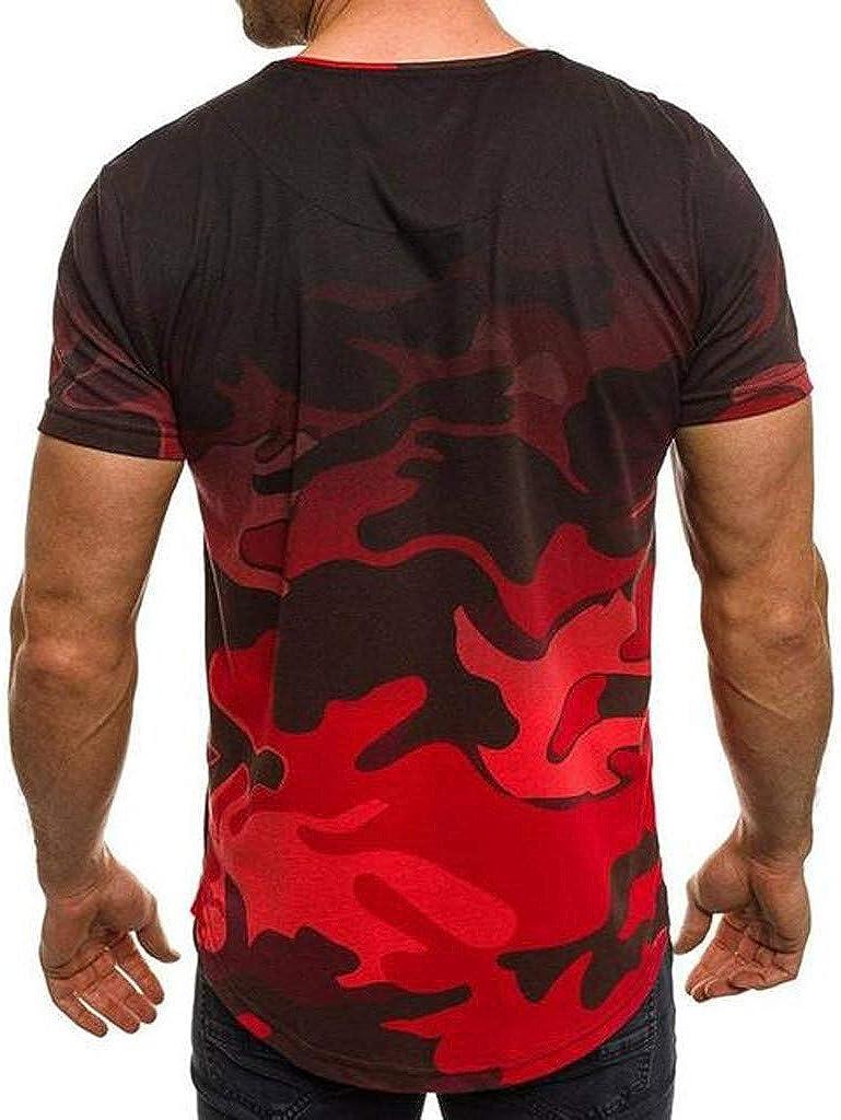 STORTO Mens Camouflage Gradient T-Shirts Casual Fashion Lapel Short Sleeve Tee Shirt Tops