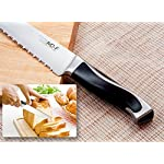 Serrated Bread Knife, High Carbon German Stainless Steel, Sharp Blade, Ergonomic Handle, Professional for Slicing Bread Cake Sandwich Tomato, 8 Inch 15 ★ ULTRA-SHARP EDGE ★It Is Manually Edged In V-Shape Through Quenching, Heat Treatment And Tempering To Ensure The Durable Sharpness ★ ERGONOMICALLY DESIGNED ★The Curved Handle Is Ergonomically Designed With 45 Degrees Polished Blade Back Offering Comfortable Control. The Blade And Handle Are Forged Together To Make A Safer, More Clean And More Durable Knife ★ NEATLY CUT ★ Serrated Blade, Neatly Cut, Nearly No Scum When Cut Bread