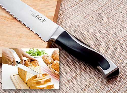 Serrated Bread Knife, High Carbon German Stainless Steel, Sharp Blade, Ergonomic Handle, Professional for Slicing Bread Cake Sandwich Tomato, 8 Inch 6 ★ ULTRA-SHARP EDGE ★It Is Manually Edged In V-Shape Through Quenching, Heat Treatment And Tempering To Ensure The Durable Sharpness ★ ERGONOMICALLY DESIGNED ★The Curved Handle Is Ergonomically Designed With 45 Degrees Polished Blade Back Offering Comfortable Control. The Blade And Handle Are Forged Together To Make A Safer, More Clean And More Durable Knife ★ NEATLY CUT ★ Serrated Blade, Neatly Cut, Nearly No Scum When Cut Bread