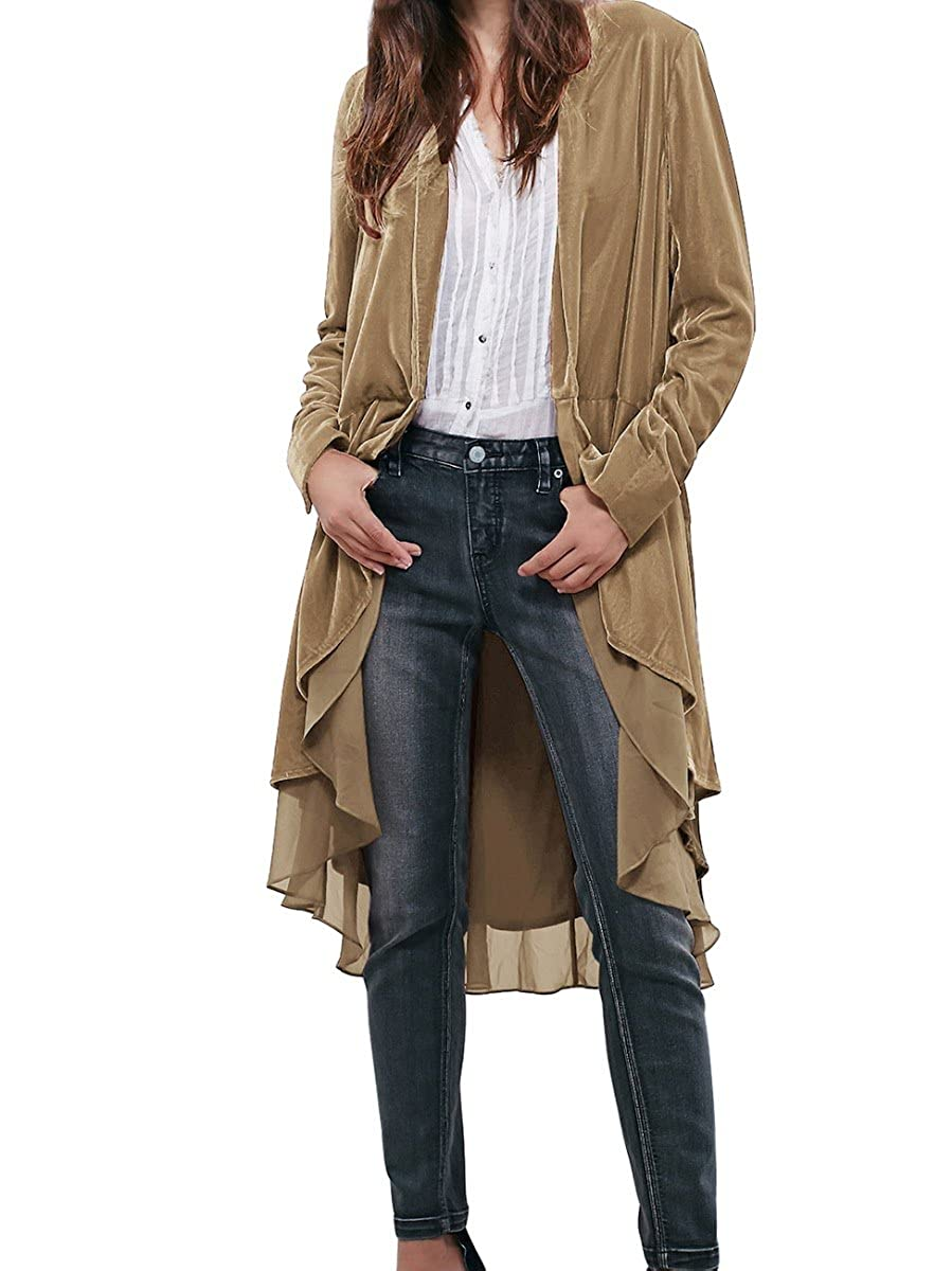 CA Mode Women's Velvet Lace Hem Cardigan Jacket Outwear Coat Z8137