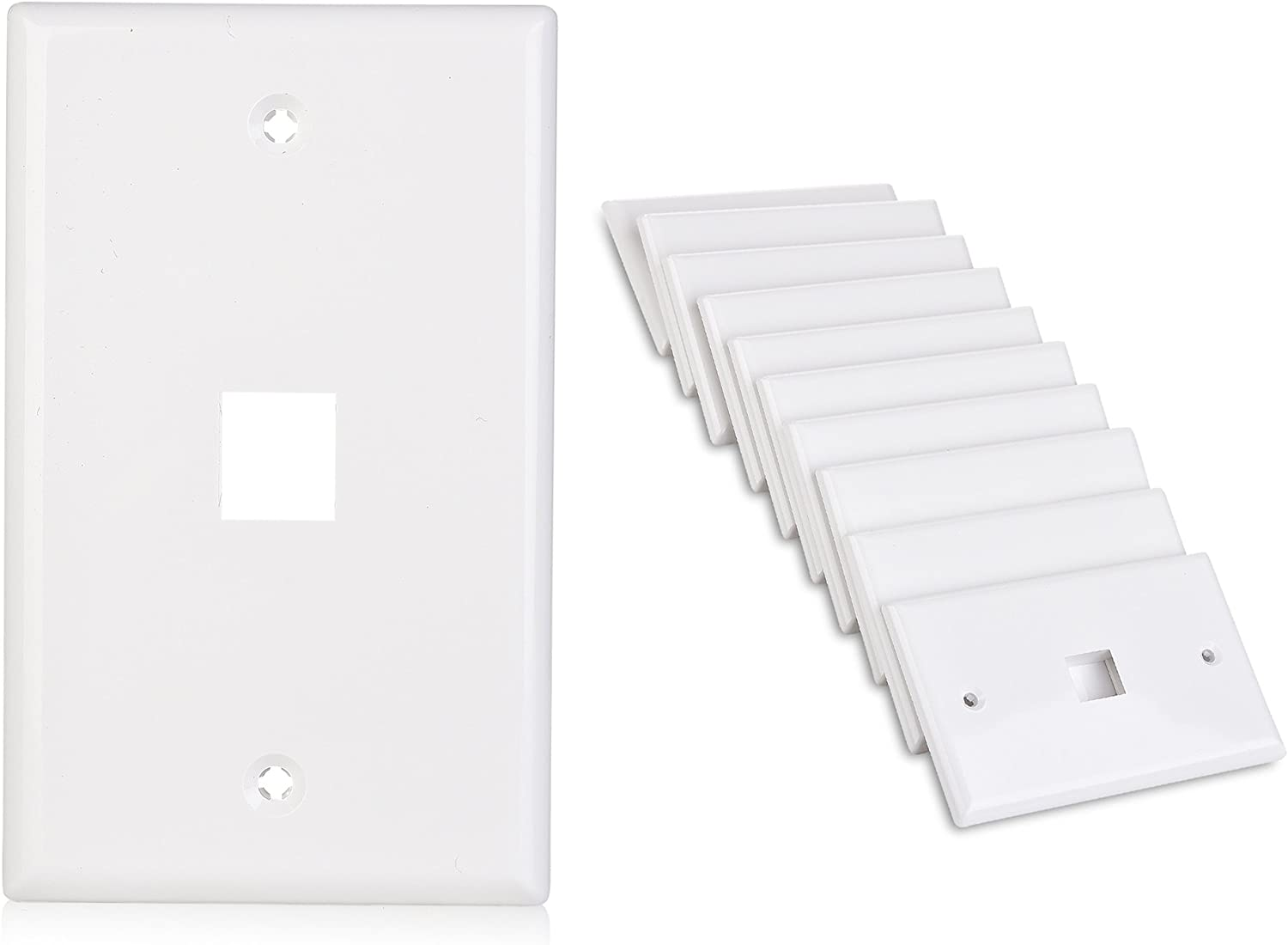 Cable Matters 10-Pack Low Profile 1 Port Keystone Jack Wall Plate in White