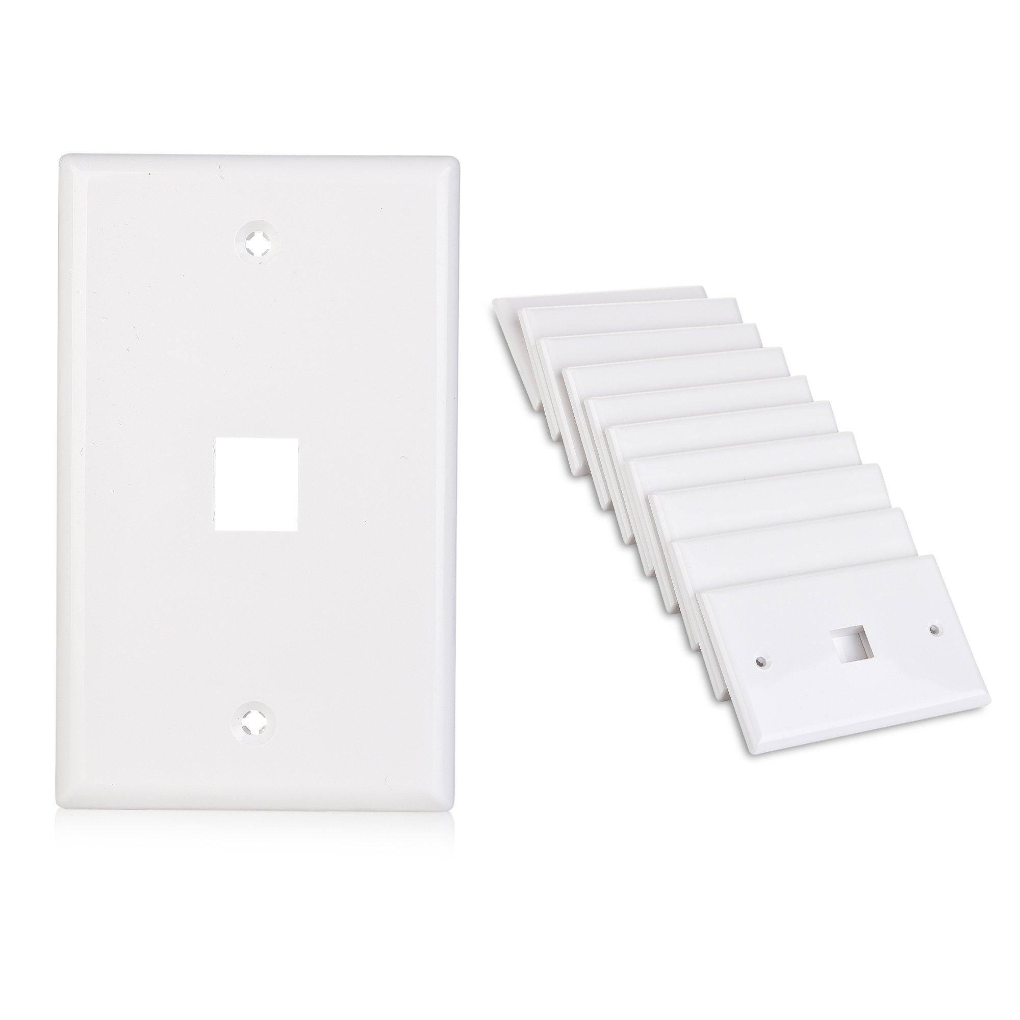 Cable Matters (10-Pack) Low Profile 1 Port Keystone Jack Wall Plate in White