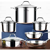 HOMI CHEF 10-Piece Nickel Free Stainless Steel Cookware Set Copper Band - Nickel Free Stainless Steel Pots and Pans Set…