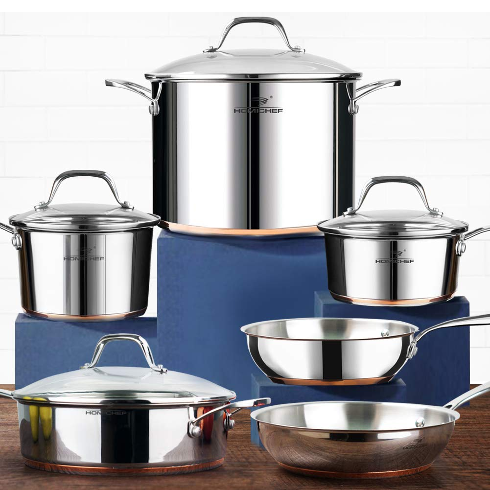HOMI CHEF 10-Piece Nickel Free Stainless Steel Cookware Set