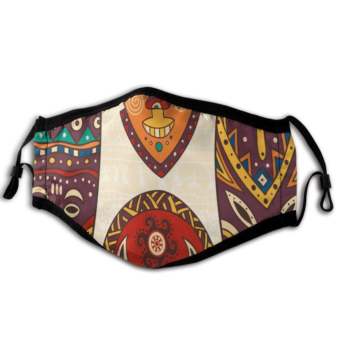 Comfortable Windproof mask,Mask Designs African Aborigine Artwork Patterns Cultural Ethnic Hawaiian Print,Printed Facial decorations for adult