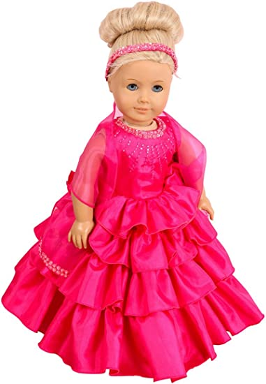 To Fit Dolls such as Our Generation Doll Designafriend Baby Born,Hannah by Gotz and American Girl Doll FRILLY LILY WHITE BALL GOWN FORMAL PRINCESS CONFIRMATION WEDDING BRIDESMAID DRESS SET FOR SMALL DOLLS 14-18 INCHES DOLL AND TIARA NOT INCLUDED