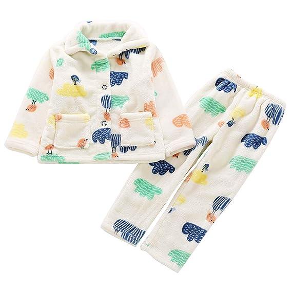 03869dd77ad06 Happy Cherry – Ensemble de Pajamas Enfant Garçon Fille Flanelle Doux Motifs  Mignons Chemise Pantalon