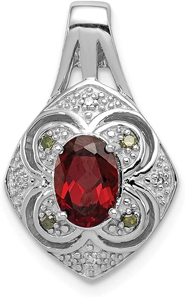 925 Sterling Silver Textured Polished Rhodium-plated White Green Diamond and Garnet Oval Pendant