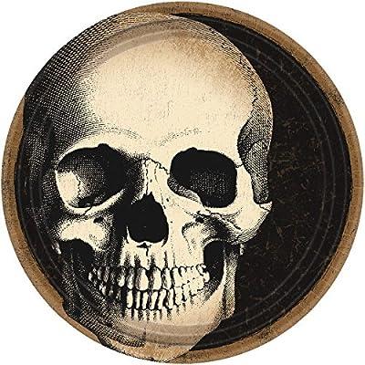 "Boneyard Skull Round Plates, 9"": Toys & Games"