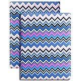 Z PLINRISE Plinrise Fashion Design PU Leather Pad folio/ Resume Portfolio Folder-Document Organizer, With Pockets Clipboard Folder, Energetic Business File Organizer - Stripe Blue