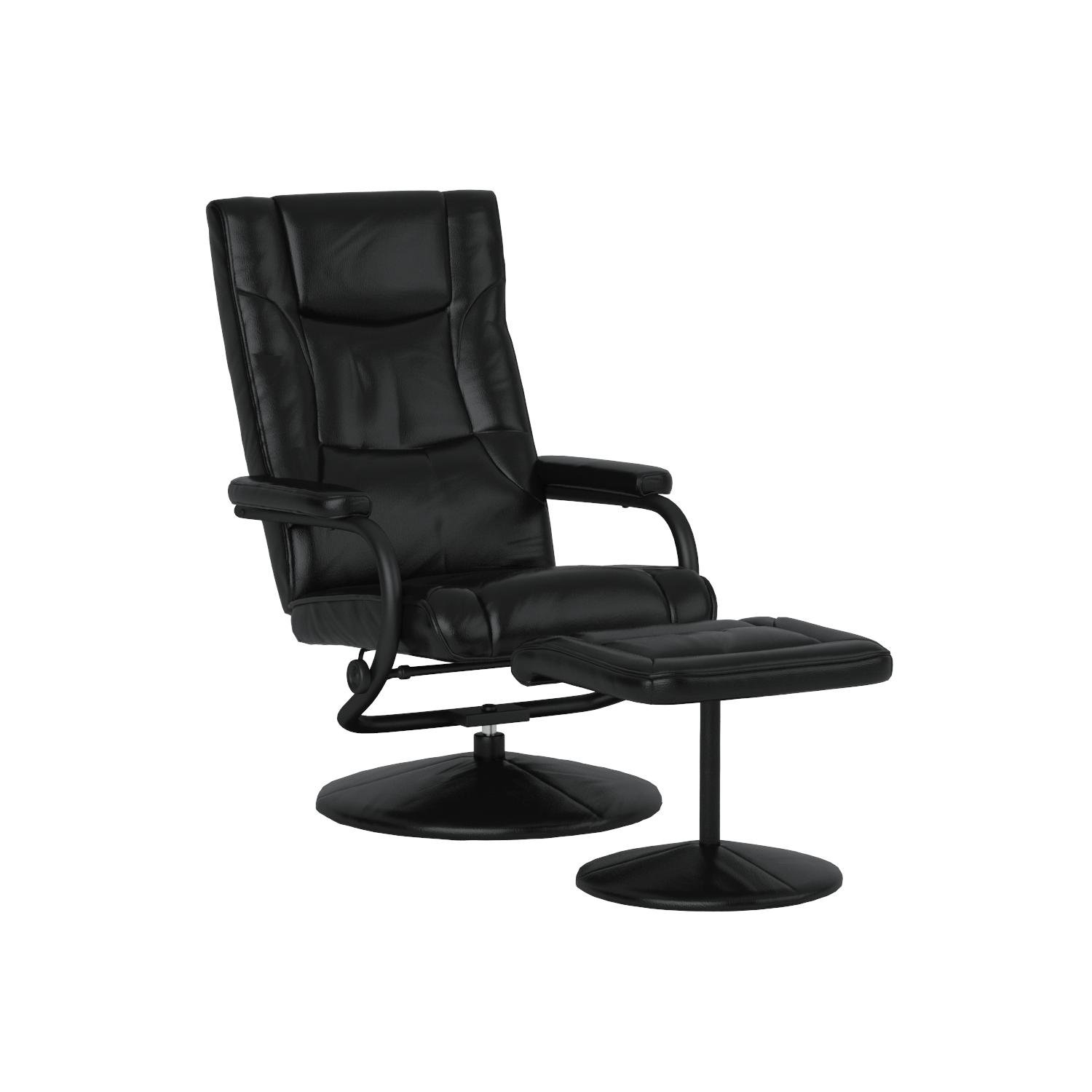Flash Furniture BT-7862-BK-GG Contemporary Black LeatherSoft Recliner/Ottoman with Wrapped Base by Flash Furniture