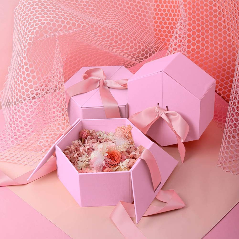 Johouse Gift Box, 7 inches Large Pink Gift Box, with Cover Ribbon and Lafite for Wedding, Christmas Gifts, Valentines Day