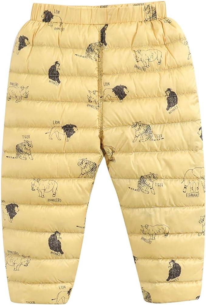 KIDS Winter Warm Loose Packable Down Pants Puffer Lightweight Snow Trousers