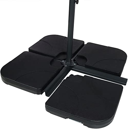 Sunnydaze Heavy-Duty Cantilever Offset Patio Umbrella Base Plates Stand, Weights for Outdoor Cross Style Bases, Set of 4, Black