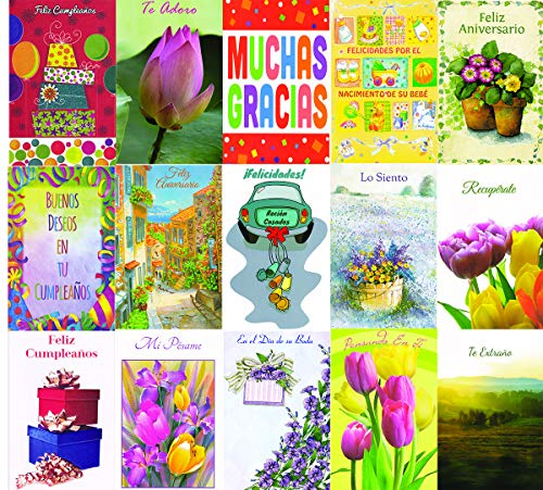 Spanish All Occasion Greeting Cards Assorted - 30 Pack