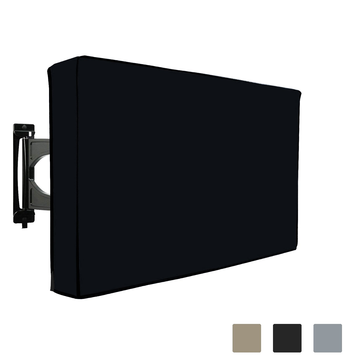 COVERS & ALL Outdoor TV Cover Weatherproof for LED LCD Plasma TV. Built-in Bottom Protection Flap, Remote Controller Storage Pocket, Fits Wall & Standard Mounts, 1000 D PVC Fabric (50'' - 52'', Black) by COVERS & ALL