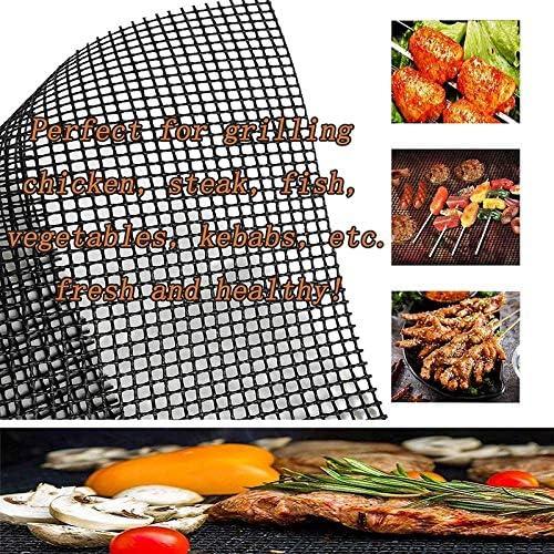 showsing Tapis de Cuisson Tapis BBQ Barbecue Plaque Feuille de Cuisson Four pour Barbecue gaz Charbon électrique 104% Anti-adhérent Round 6Pcs