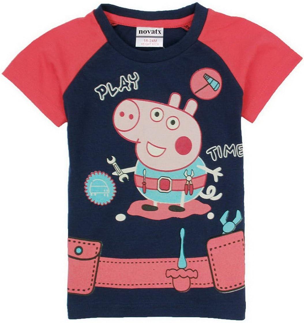 Gnatx Little Boy Clothing T Shirts Cartoon Pattern Cotton Tee Shirt Short Sets for Boys 1-6 Years