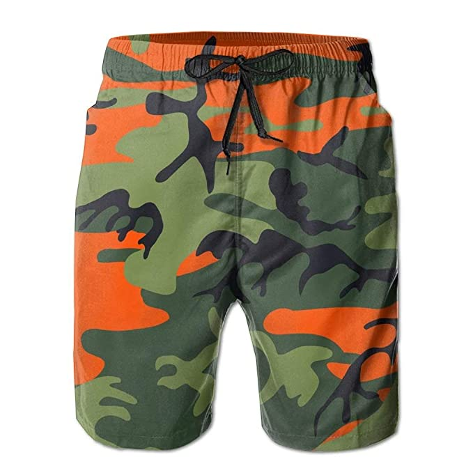 Image Unavailable. Image not available for. Color  IKZVT Short Men s Orange  Camouflage ... 712ff865cb0