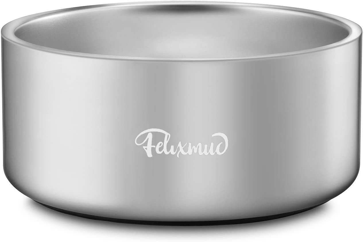 Felixmuc Dog Bowl Stainless Steel Dog Water Bowls Non-Slip Dog Food Bowls Pet Bowls for Large Medium Dogs Cats, Holds 64 Ounces Original Color