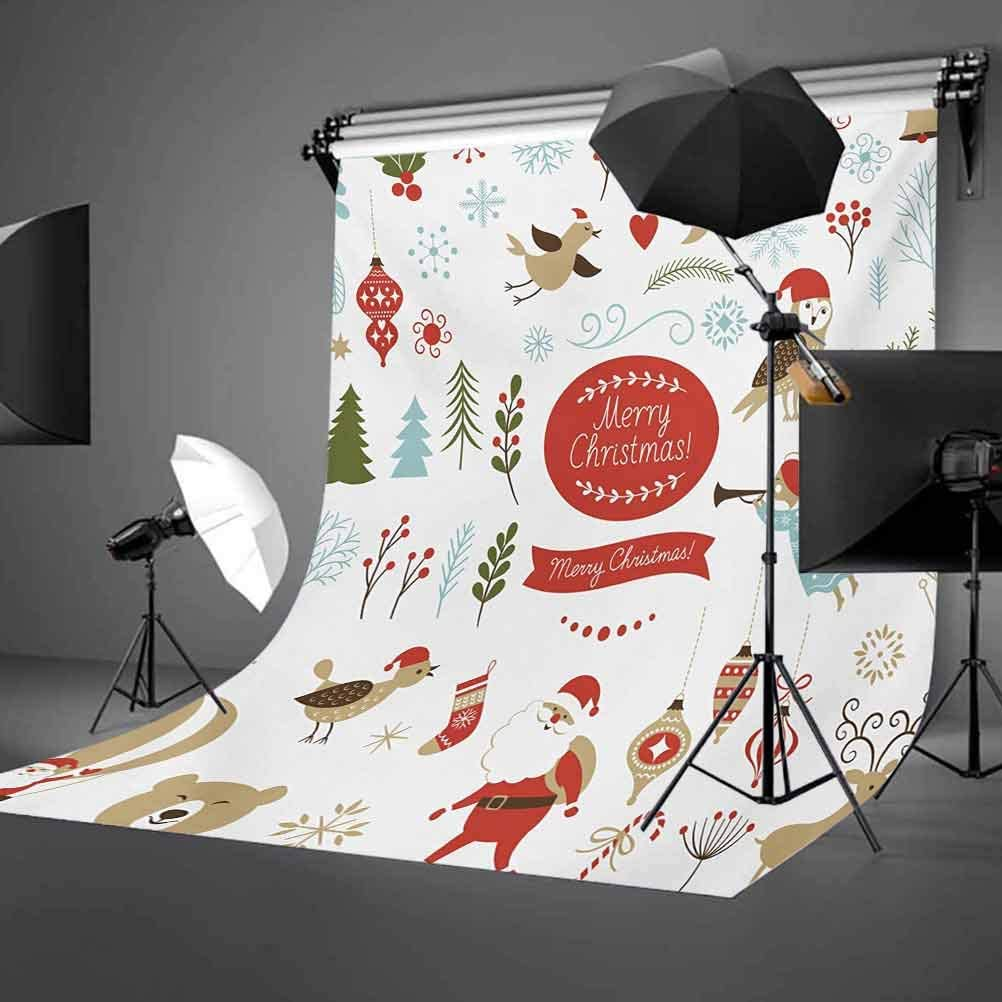 Christmas 6.5x10 FT Backdrop Photographers,Christmas Graphic Elements Delicate Gentle Cute Ornate Figures Festive Icons Background for Party Home Decor Outdoorsy Theme Vinyl Shoot Props Multicolor