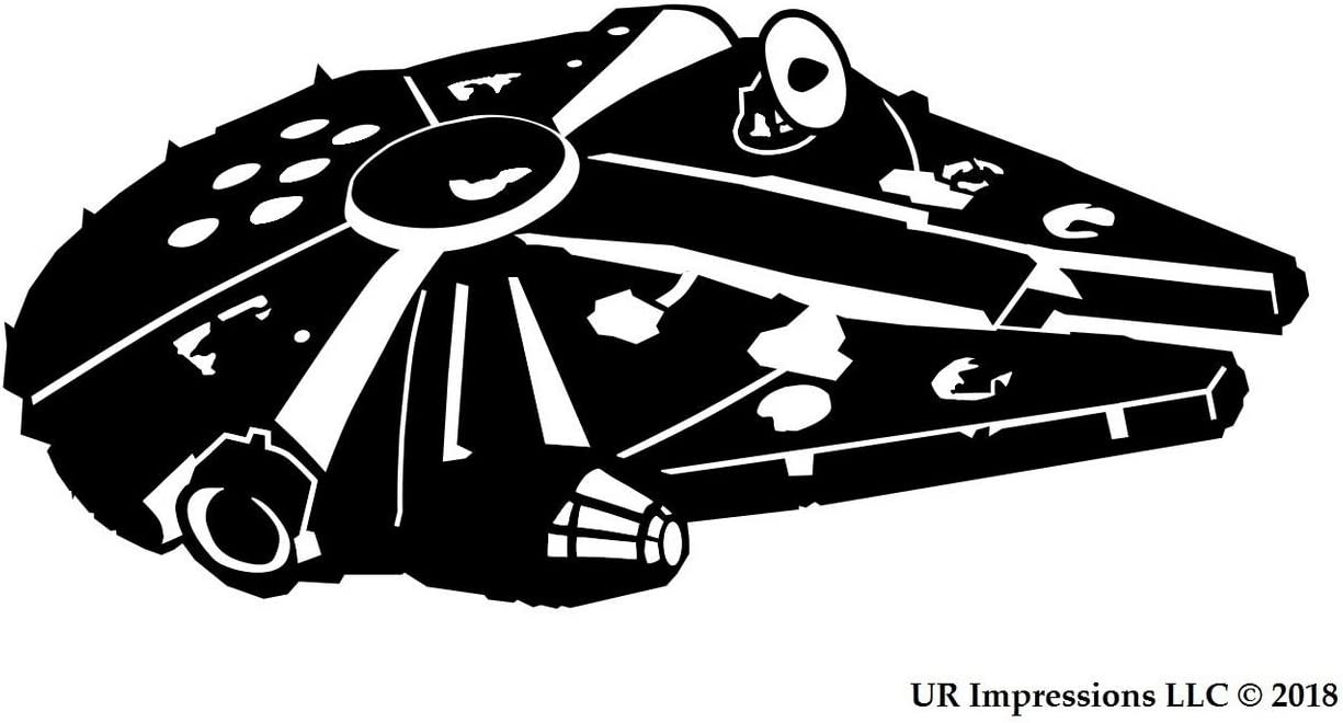 UR Impressions MBlk RF Millennium Falcon Decal Vinyl Sticker Graphics for Cars Trucks SUV Vans Walls Windows Laptop|Matte Black|6.25 X 3.6 Inch|URI547
