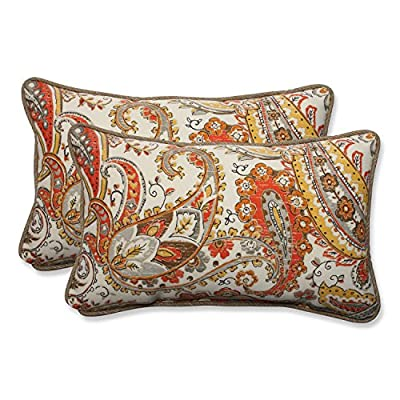 Pillow Perfect Outdoor/Indoor Hadia Sunset Rectangular Throw Pillow (Set of 2),Orange - Includes two (2) outdoor pillows, resists weather and fading in sunlight; Suitable for indoor and outdoor use Plush Fill - 100-percent polyester fiber filling Edges of outdoor pillows are trimmed with matching fabric and cord to sit perfectly on your outdoor patio furniture - patio, outdoor-throw-pillows, outdoor-decor - 61nMa2ymCkL. SS400  -