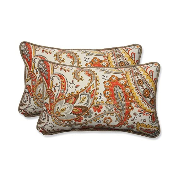 Pillow Perfect Outdoor/Indoor Hadia Sunset Rectangular Throw Pillow (Set of 2) - Includes two (2) outdoor pillows, resists weather and fading in sunlight; Suitable for indoor and outdoor use Plush Fill - 100-percent polyester fiber filling Edges of outdoor pillows are trimmed with matching fabric and cord to sit perfectly on your outdoor patio furniture - patio, outdoor-throw-pillows, outdoor-decor - 61nMa2ymCkL. SS570  -