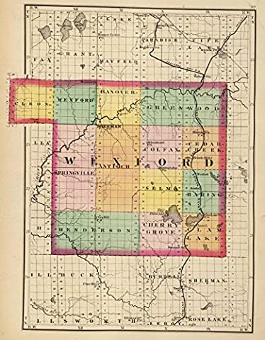 State Atlas | 1873 (Map of Wexford County, Michigan) | Historic Antique Vintage Reprint - Michigan Antique Map