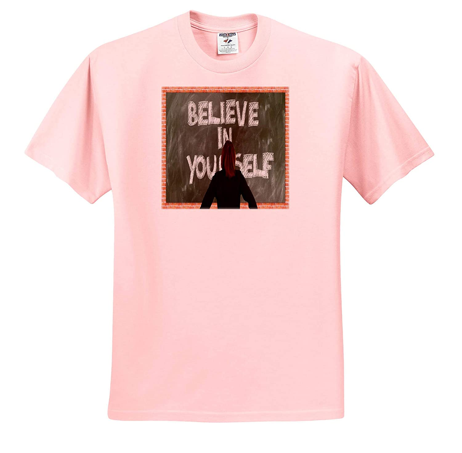 Image of Believe in Yourself Written On Chalkboard ts/_316563 Adult T-Shirt XL 3dRose Lens Art by Florene